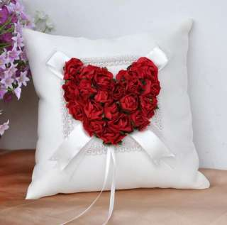 Red Rose Heart shape Wedding Ceremony Satin Ring Bearer Pillow GB29c