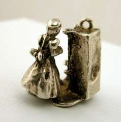 English Sterling Silver CHARM Nursery Rhyme MOTHER HUBBARD + DOG