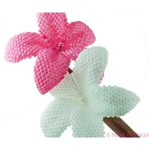 hair stick   bright white and carnation pink   beaded flowers Beauty
