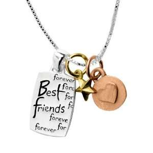 Tri Tone Best Friends Forever Three Charm Necklace, 18 Jewelry