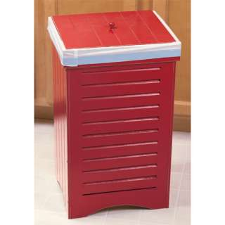 NEW INDOOR WOODEN KITCHEN GARBAGE TRASH CAN BIN w LID BLACK MAPLE RED
