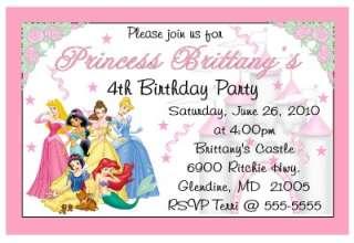 DISNEY PRINCESS custom BIRTHDAY INVITATIONS DIGITAL 4X6
