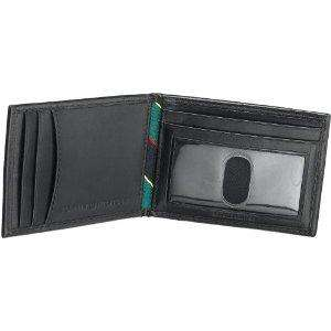 NEW TOMMY HILFIGER BLACK LEATHER BIFOLD PASSCASE COIN POCKET WALLET