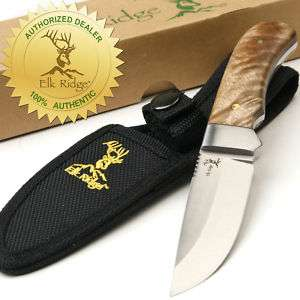 Elk Ridge Burl Wood Hunting Skinning Knife NEW
