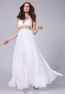 LONG CHIFFON FORMAL GREEK WEDDING PROM GOWNS OPEN BACK