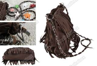 Fashion Tassel Faux Suede Fringe Women handbag Shoulder Messenger Bag
