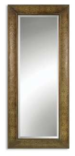 TUSCAN X Large Embossed Copper FULL LENGTH FLOOR MIRROR 69H Bevel Old