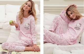 Charming Pink Hello Kitty pajamas nightwear suit top Tee shirt