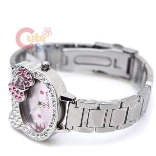 Sanrio Hello Kitty Face Wrist Watch w/Pink Bow Stainless Licensed by