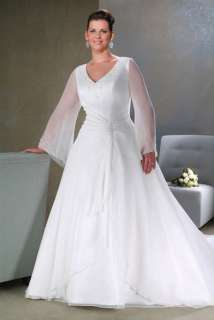 Plus Size Elegant Chiffon Bridal Wedding Dress Gown P40