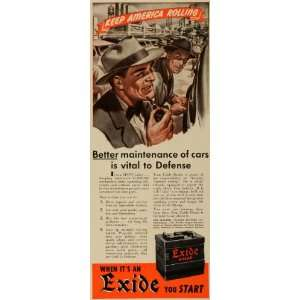 1941 Ad Electric Storage Exide Battery Automotive World