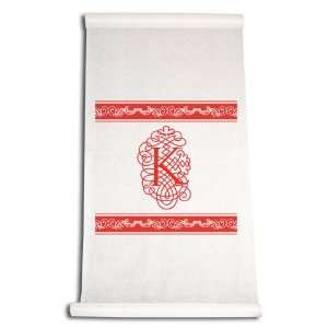 Inch Aisle Runner, Fancy Font Letter K, White with Red: Home & Kitchen