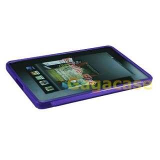 Purple  Kindle Fire TPU Gel Case Skin Cover + Anti Galre Screen