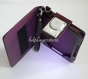 Purple Kindle 4 Premium Leather Case Cover With Custom Design LED