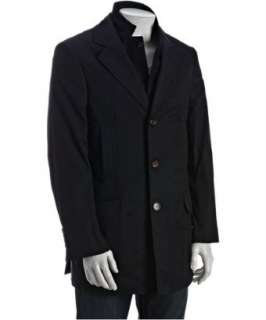 Brunello Cucinelli navy twill inset car coat