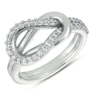 14k .31 Dwt Diamond White Gold Love Knot Ring   JewelryWeb Jewelry