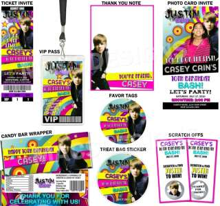 Justin Bieber Custom Birthday Party Invitations Favors