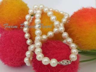 AAA+ Cultured 7 8mm White Pearl Necklace White Gold 16