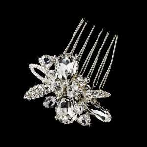 Silver Clear Rhinestone Hair Comb Jewelry