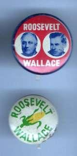 Franklin D. Roosevelt + Henry WALLACE FDR 2 button pin pinback