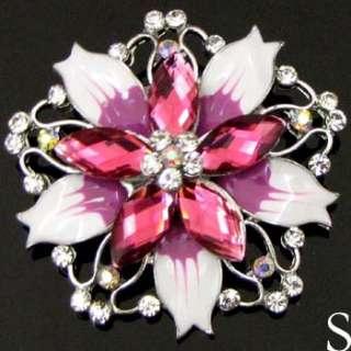 1pc rhinestone crystal glazed flower brooch pin wedding