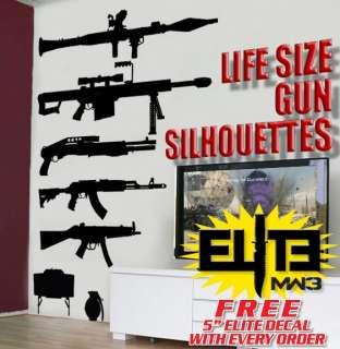 Call of Duty style LIFESIZE Machine Gun Decal Stickers COD MW3 Sniper