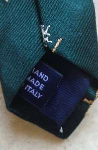 Ralph Lauren mens polo tie silk green lions silver gold nwt $105