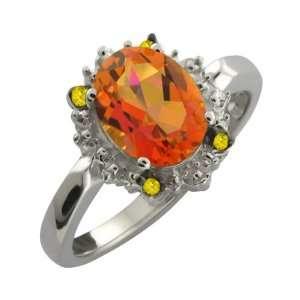 Oval Twilight Orange Mystic Quartz and Diamond Argentium Silver Ring