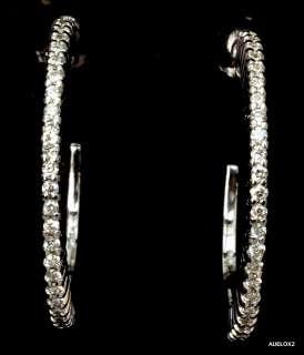 New $3,600.00 ROBERTO COIN 18K White Gold Diamond Hoop Earrings SALE