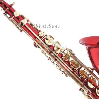NEW PRO LEVEL RED TENOR SAXOPHONE SAX+TUNER+10 REEDS