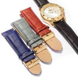 Interchangeable Leather Bands MOP Swiss 50mm Dial Date Men Watch Sets