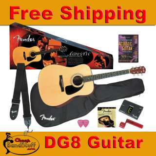 Fender DG8S Acoustic Guitar Package w/ Tuner Case DG8 S