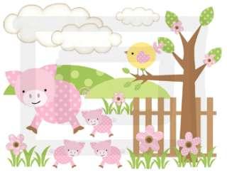 TREE BUTTERFLY FLOWERS BROWN PINK MURAL BABY GIRL NURSERY WALL