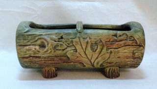 Antique Weller Woodcraft Log Flower or Bulb Bowl