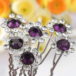 Clear Crystal Sunflower Wedding Bridal Hair Pins Accessory LOT